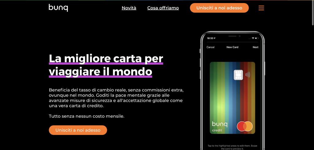Anteprima del sito Bunq | Bunq travel card con conto corrente