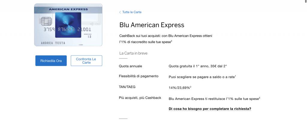 Carta Blu American Express   Anteprima del sito della carta Blu American Express