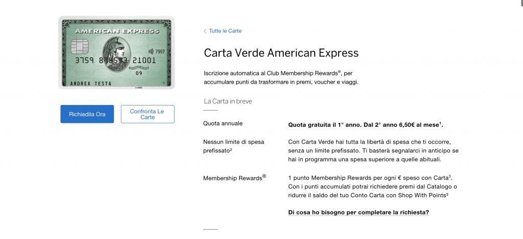 Carta verde American Express | Anteprima del sito della carta verde American Express