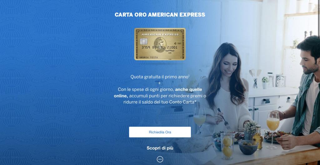 Carta Oro American Express   Anteprima del sito della carta oro dell'American Express