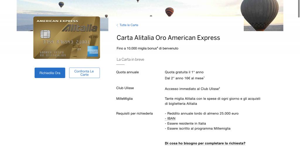 Carta Oro American Express | Anteprima del sito della Carta Alitalia Oro dell'American Express